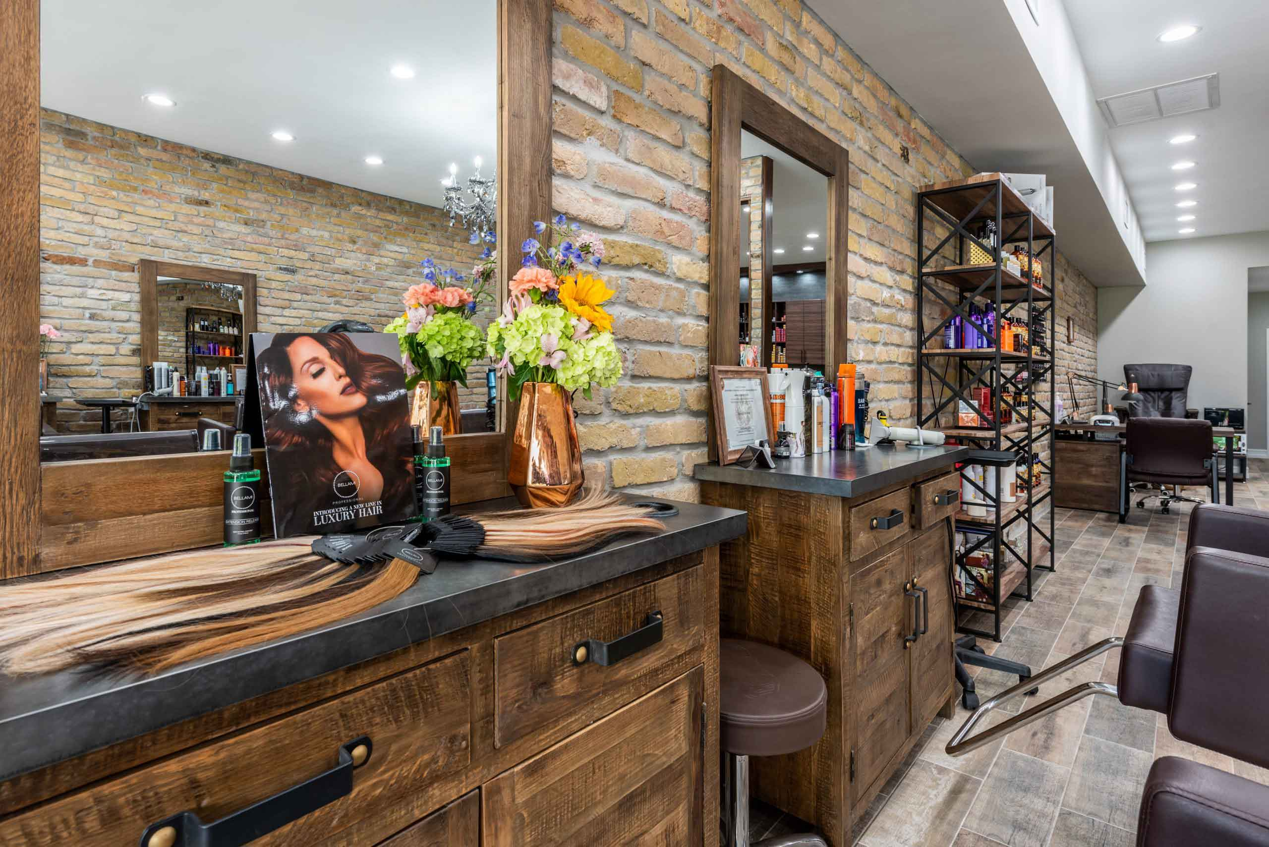 hairmess salon extensions display